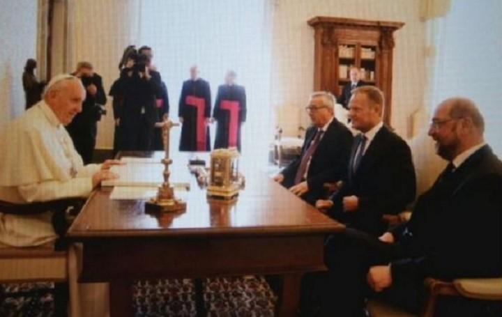 Συνάντηση Πάπα με Γιούνκερ, Σουλτς και Τουσκ