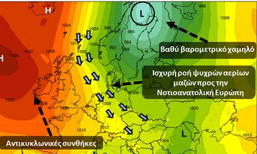 Ψυχρή εισβολή και πτώση της θερμοκρασίας από το βράδυ της Τετάρτης