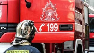 Στις φλόγες τυλίχθηκε φορτηγό στην αερογέφυρα της Μάνδρας