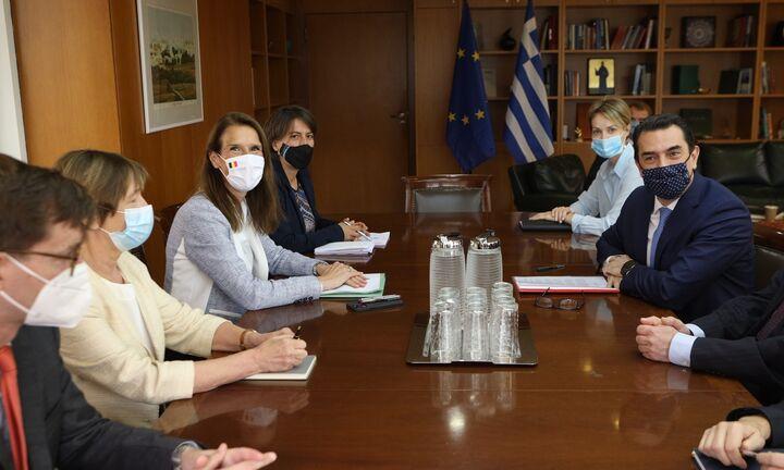 Συνάντηση Σκρέκα, με την Αναπληρώτρια Πρωθυπουργό και Υπουργό Εξωτερικών του Βελγίου, Sophie Wilmès