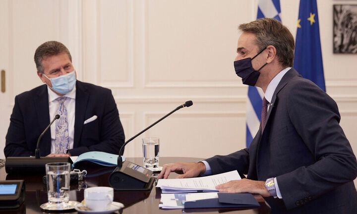 Συνάντηση Μητσοτάκη - Σέφκοβιτς - Στο επίκεντρο κλιματική κρίση και ψηφιακή μετάβαση