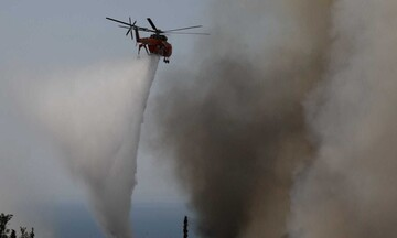 Πυρκαγιά σε εξέλιξη στα Βίλια Αττικής