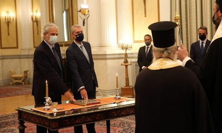 Ορκίστηκαν ο νέος υπουργός Κλιματικής Κρίσης Χρ. Στυλιανίδης και ο υφυπ. Ευ.Τουρνάς