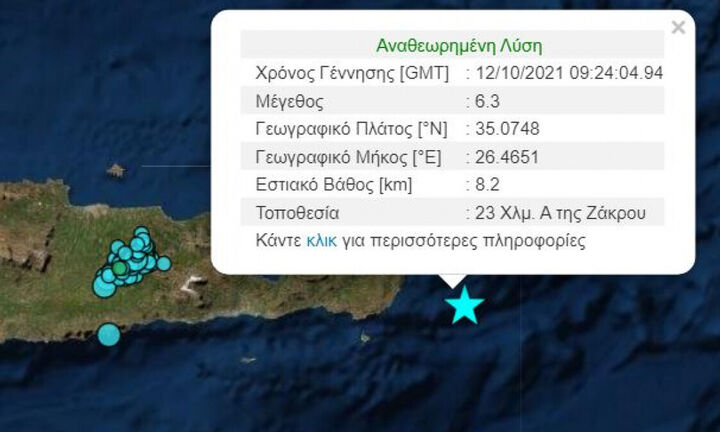 Ισχυρότατος σεισμός 6,3 Ρίχτερ στην Κρήτη